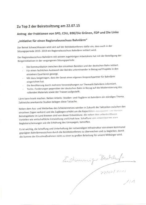 Gemeinsamer Beschlussentwurf Beirat Schwachhausen 220715