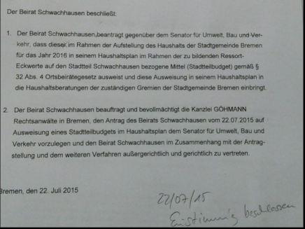 Beschluss des Beirats Schwachhausen am 22. Juli 2015