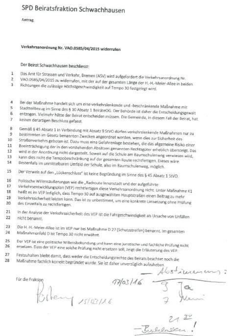 Beschluss des Beirats Bremen Schwachhausen gegen eine Verkehrsanordnung 17.03.2016