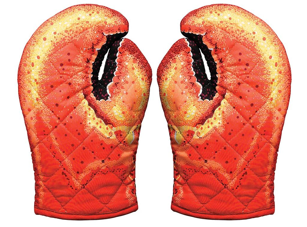 funny gifts for dad, lobster oven mitts,
