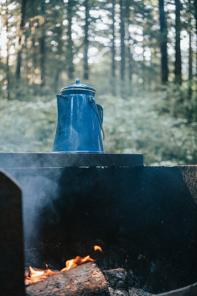 coffee camping, camp coffee, blue coffee pot, coffee, camping, morning, pnw, photography, dad blog, james r.c. smith, all rights reserved, socialdad.ca,