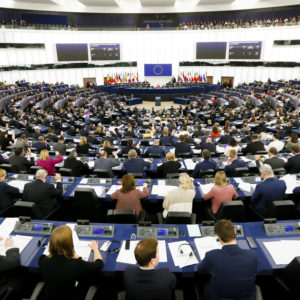 General view on the plenary chamber in Strasbourg after the departure of the UK MEPs