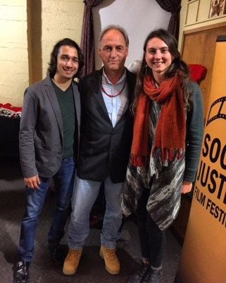 """Promised Land"" Co-Director Vasant Samudre Salcedo with Ken Workman, fourth generation grandson of Chief Seattle, and festival Assistant Director, Laura Brady."