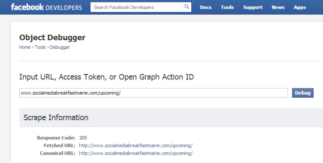 Using the Facebook debugger tool