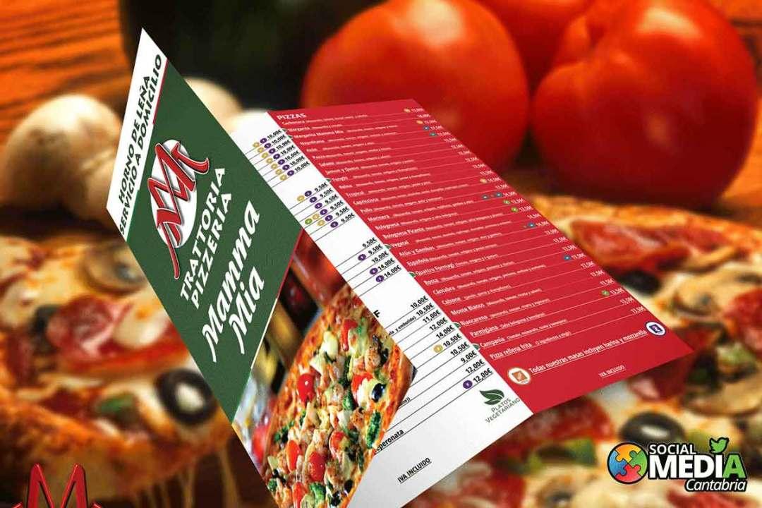 Diseño carta de menu Pizzeria Mamma mia