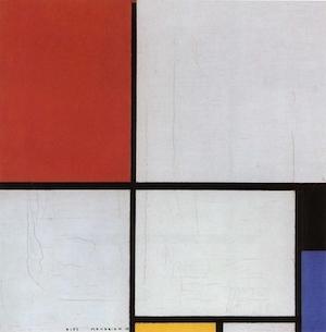 Voorbeeld van een strakke lay-out: Mondrian, Compositie met rood, geel en blauw.
