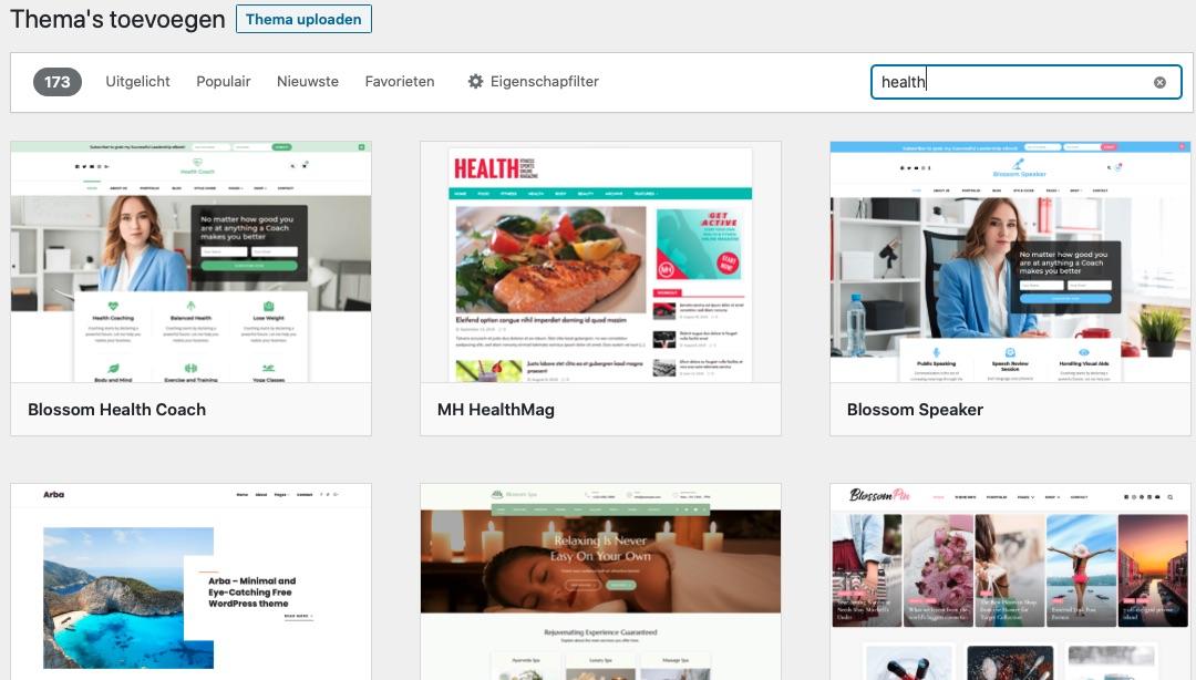 Zoeken op 'health' levert 173 Wordpress thema's op om uit te kiezen