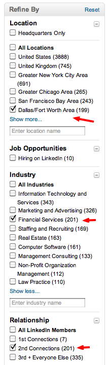 company search on linkedin