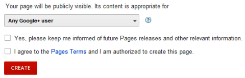 Google+ Pages - Content Settings
