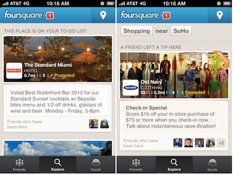 Foursquare gesponserte Updates