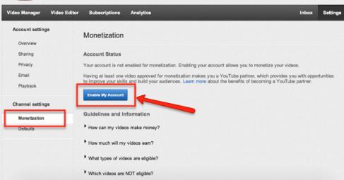 account settings monetization