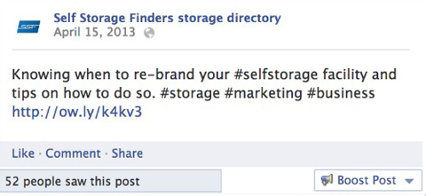 self storage finders facebook text update