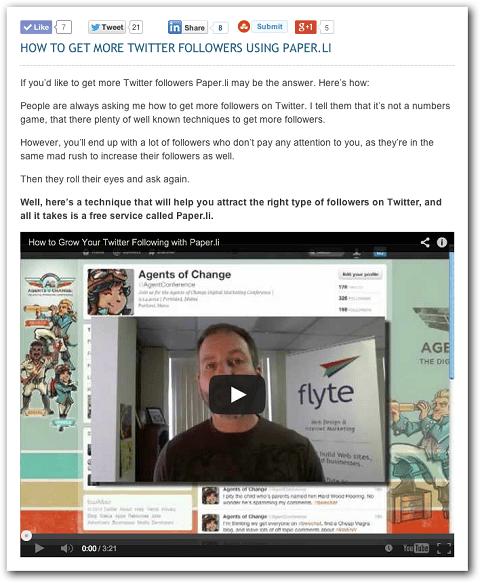 Beispiel für einen Video-Blog-Beitrag