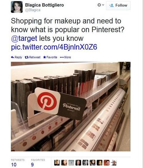 tweet of in-store pinterest tag in target