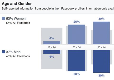 Facebook Publikum Einblicke Geschlecht und Alter Aufschlüsselung
