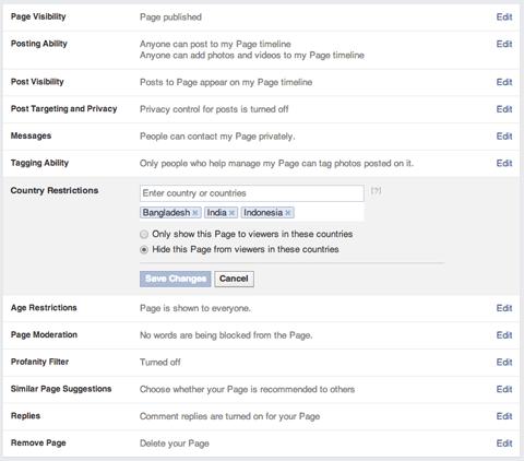Facebook-Seiteneinstellungen