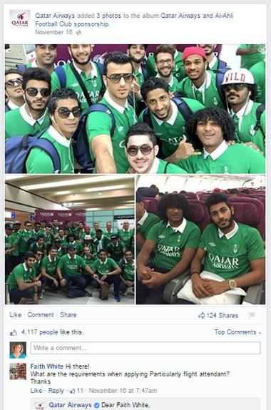 qatar airways facbook post