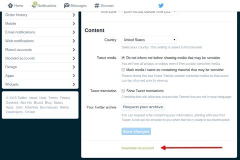 Twitter-Account deaktivieren