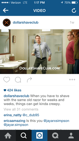 dollar shave club instagram video