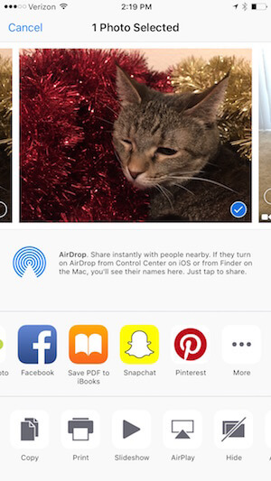 share a photo taken outside of snapchat