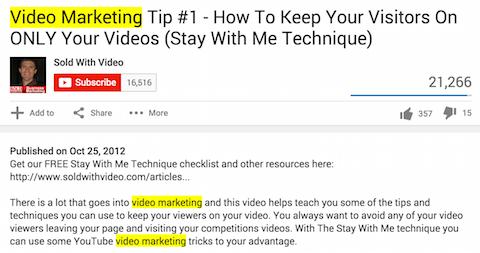 verkauft mit Video-Youtube-Schlüsselwörtern in Titel und Beschreibung