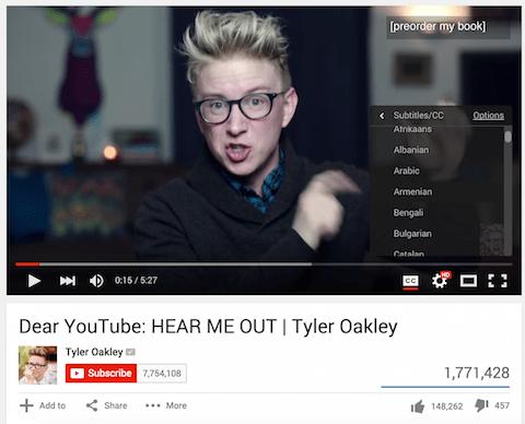 Tyler Oakley Video mit Untertiteln
