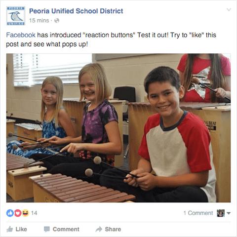 Facebook-Seitenbeitrag, in dem Benutzer zur Verwendung von Reaktionen eingeladen werden