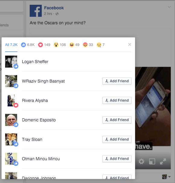 Details zu Facebook-Reaktionen aus einem Mitbewerberbeitrag