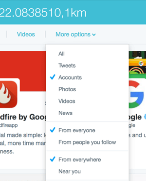 twitter search more options