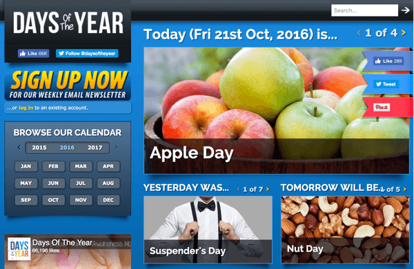 days of the year website