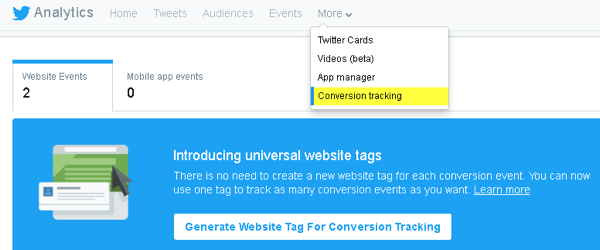 Twitter lets you add code to your website for conversion tracking and to create tailored audiences.