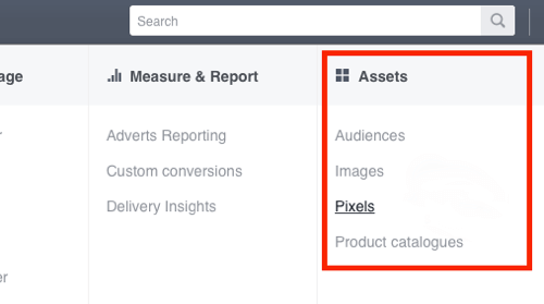 Click Pixels in your Facebook Ads Manager.