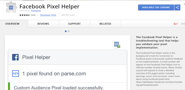 Install the Facebook Pixel Helper to check that your tracking is working.