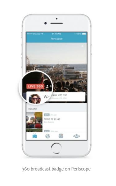 Periscope testet Live 360-Videos mit ausgewählten Partnern und wird diese Funktion in den kommenden Wochen umfassender einführen.