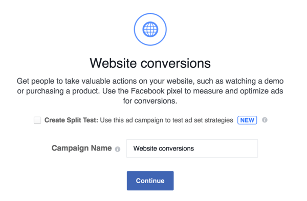 Enter a name for your Facebook ad campaign.