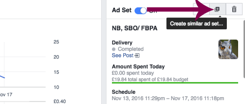 Duplicate a Facebook ad set in Ads Manager.