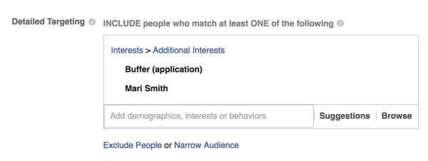 Set up specific targeting options in Facebook Ads Manager.