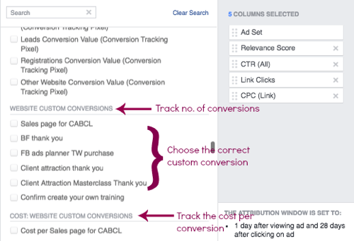 Create a custom Facebook ads results table.
