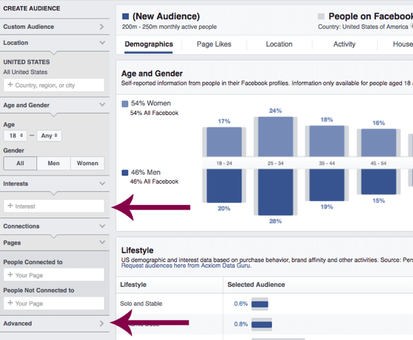 Facebook's Audience Insights can help you learn more about your target audience.