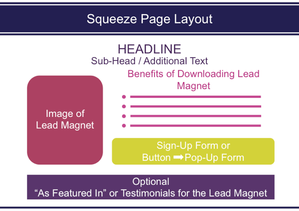 This is a standard format for a simple squeeze page.