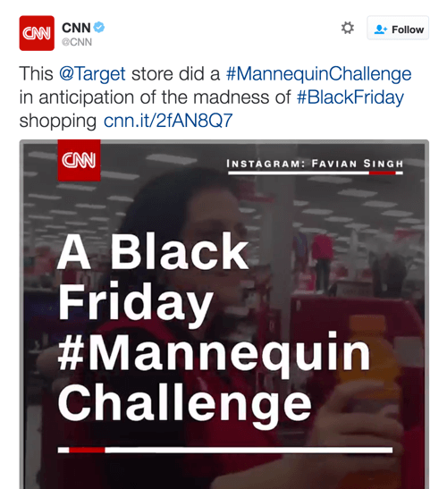 CNN shared Target's video, which capitalized on two Twitter trends.