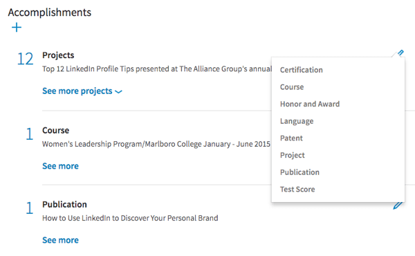Add accomplishments to your LinkedIn profile in this new section.