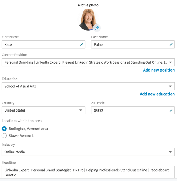 The new LinkedIn interface makes it easy to update information in your LinkedIn intro section.