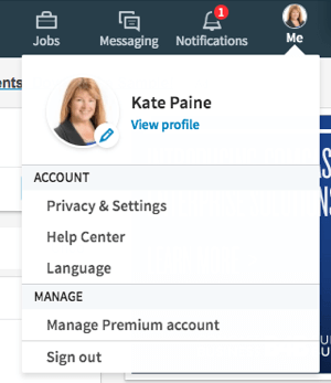 Click the Me icon to edit your profile and privacy settings.