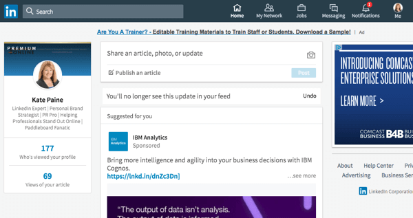 This is the redesigned LinkedIn home page on desktop.