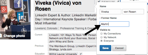 If your name changed in the last year, update your LinkedIn profile. There's even a spot to include your former name.
