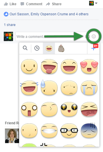 To post a meep, click the smiley face beside your Facebook comment and select your favorite.