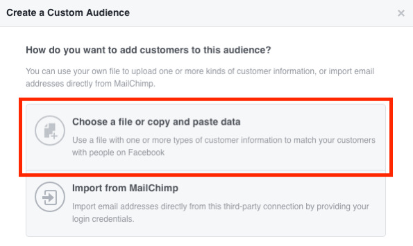 Select Choose a File or Copy and Paste the Data to create your Facebook custom email audience.