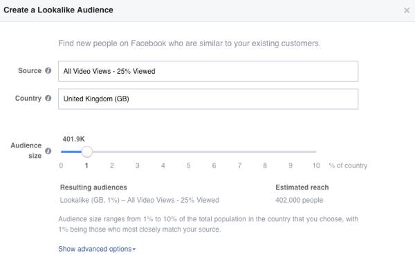 Create your Facebook video lookalike audience.