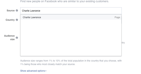 In the Source field, select your Facebook page.